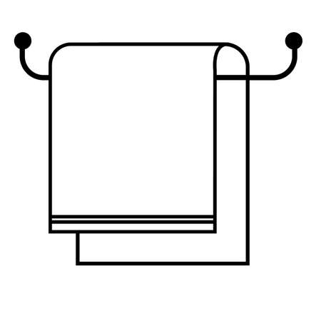 towel on hanger icon on white background. flat style. towel  sign. towel bath symbol.