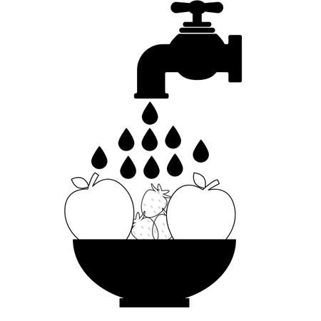 clean food icon on white background. washing vegetables fruit. washing fruit sign. flat style. water is pouring on a bowl of fruit.
