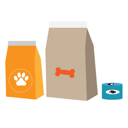 food for cats and dogs on white background. pet food sign. pet shop products set symbol. flat style. 일러스트