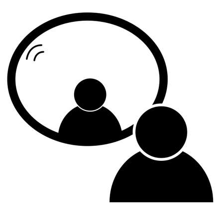 mirror icon on white background. flat style. man standing in front of a mirror. men look to mirror symbol.