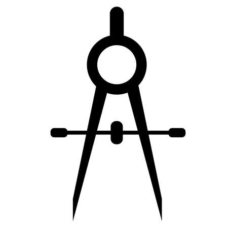 stationery compasses icon on white background. compass silhouette. compass sign. flat style. 일러스트