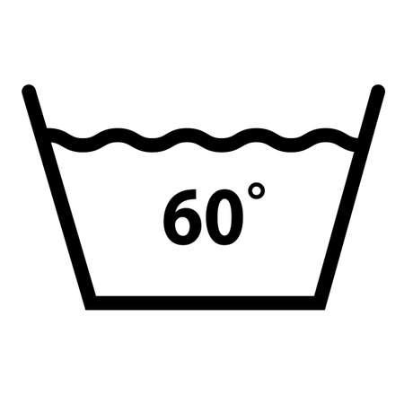 machine wash temperature 60 icon on white background. washing sign. flat style. wash at 60 degree symbol.