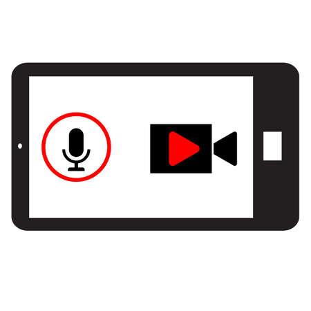 phone horizontally and record video. phone record sound and video. telephone record sign. 일러스트
