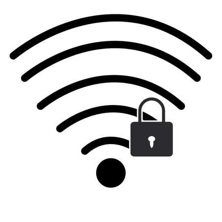 lock wifi icon on white background. password Wi-fi symbol. Wifi security sign. flat style.