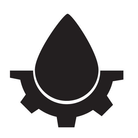 drop and gears icon on white background. drop water gear sign. water drop logo. flat style. gear drop symbol. 向量圖像