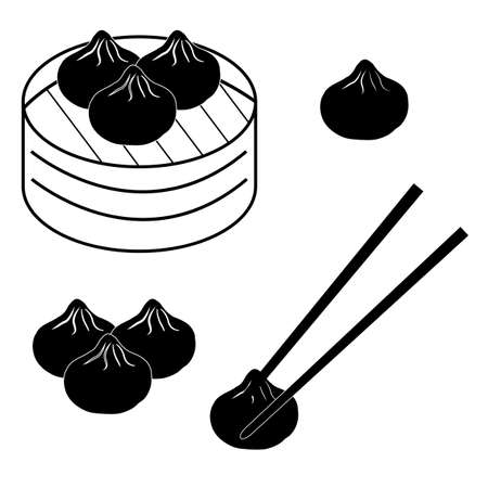 dim sum icon on white background. flat style. chinese dumplings sign.  traditional Chinese dumplings in bamboo steamer basket. Asian food symbol.