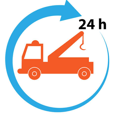 car tow service icon on white background, auto service 24 hours sign. flat style. car repair symbol.