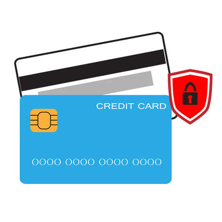 credit card with shield icon on white background. flat style. secure credit card locked sign. safety badge banking concept. protection shield credit card symbol.