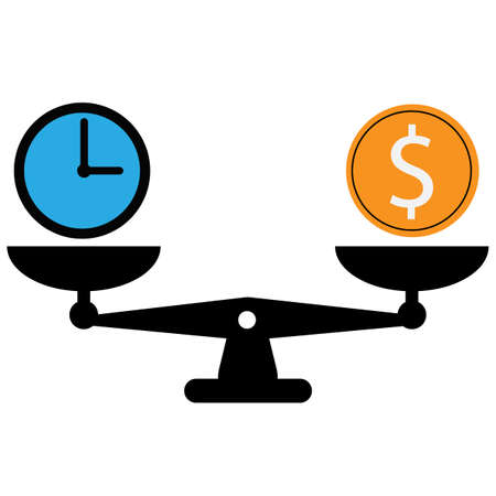 time is money on scales icon. money and time balance scale sign. flat style. weights with clock and money coin symbol. 向量圖像
