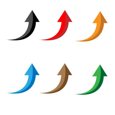 glossy arrows icon on white background. arrow icon. set of up arrows sign. flat style.