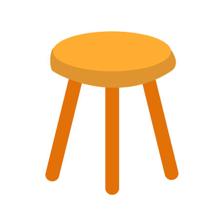 three legged stool icon on white background. flat style. wobbly three legged stool. wooden chair sign.