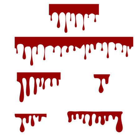 paint dripping on white background. dripping liquid sign. paint flows symbol. dripping blood logo. flat style.