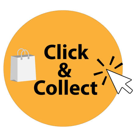 click and collect icon on white background. click and collect with computer mouse pointer. click & collect sign. flat style.