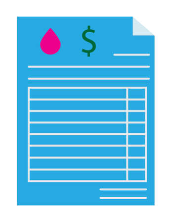 water utility bill icon on white background. water docs paper sign. beautiful payment sign. flat style. 向量圖像