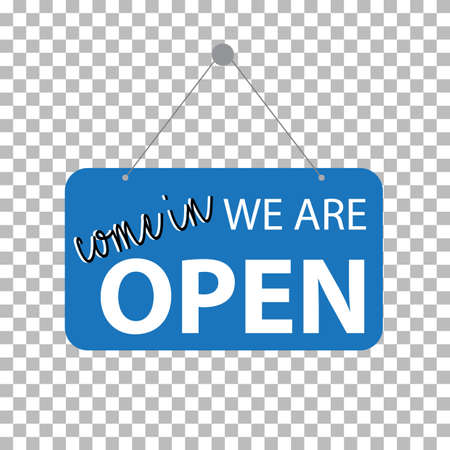 come in we are open on transparent background. blue sign come in we are open sign. open label symbol. flat style.