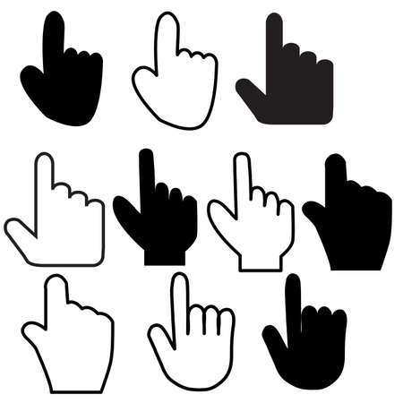 hand icon on white background. click hand outline sign. touching finger simple symbol. flat style.