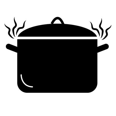 pan icon on white background. hot pot sign. cooking in pot. soup pot symbol. flat style.
