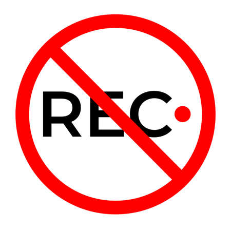 no recording icon on white background. prohibited video sign. flat style. no video camera symbol. 向量圖像