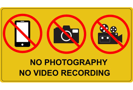 no photography and no video recording signboard. flat style. prohibition no camera, no mobile phone and no video recording.