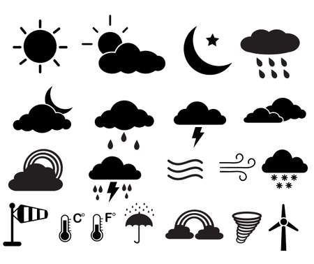 set of weather icons. weather icons on white background. weather icons, rainy and cloud sign. flat style. 向量圖像