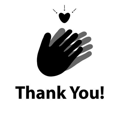 Thank you with applause icon and heart. Thanks for your help symbol. Hands with a heart sign. Applause logo. flat style. 向量圖像