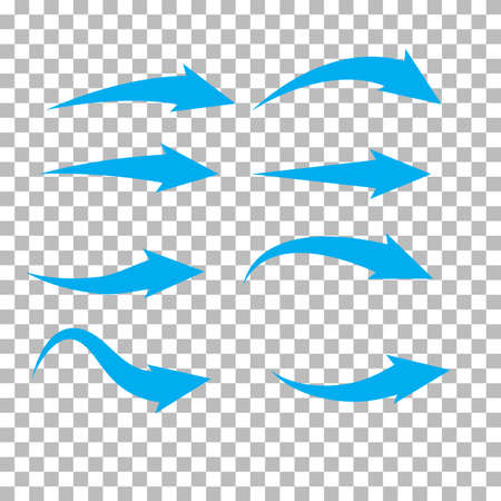 set of blue arrow on transparent background. blue arrow sign. flat style.