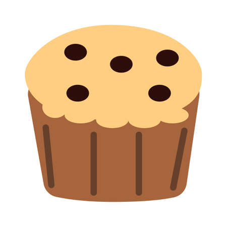 muffin icon on white background. muffin logo. muffin chocolate sign. muffin chocolate chips symbol. flat style. 向量圖像