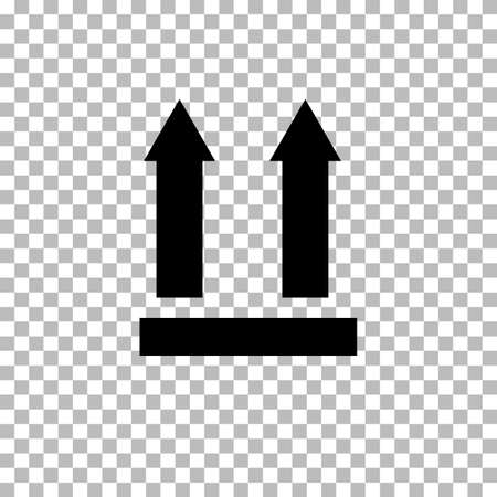 this side up icon on transparent background. two arrows indicating top side of packaging. This side up symbol. This side up packaging sign. flat style.