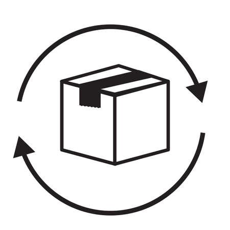 return box icon on white background. flat style. exchange of goods sign. package tracking symbol. return parcel logo. Ilustração