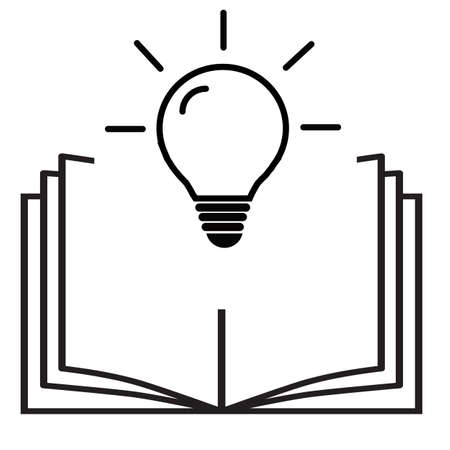 open book with lightbulb icon on white background. concept new knowledge. flat style. open book and light bulb appears above symbol. Ilustração