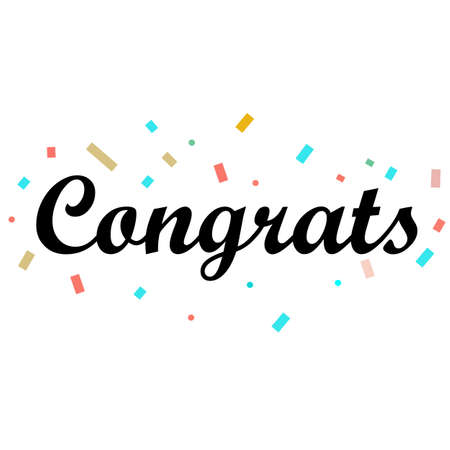 Congrats Letter on white background. Congrats lettering text. Congrats calligraphy lettering. Template for logotype, design, logo, app, UI, badge, card, postcard. Logos