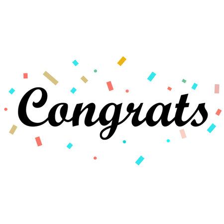 Congrats Letter on white background. Congrats lettering text. Congrats calligraphy lettering. Template for logotype, design, logo, app, UI, badge, card, postcard.