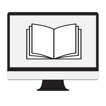 ebook icon on white background. flat style. monitor, book, online sign. online traning symbol. 向量圖像