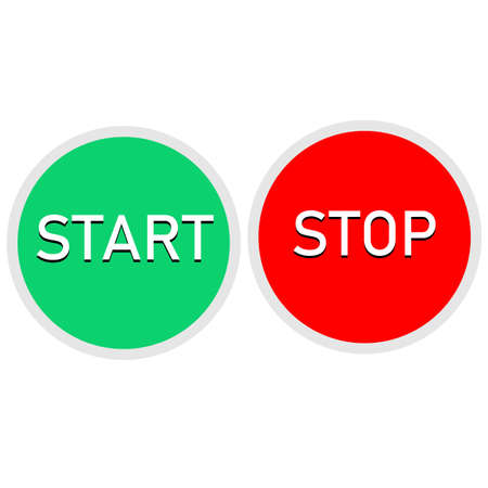 red and green button on white background. start and stop button set. round web buttons.