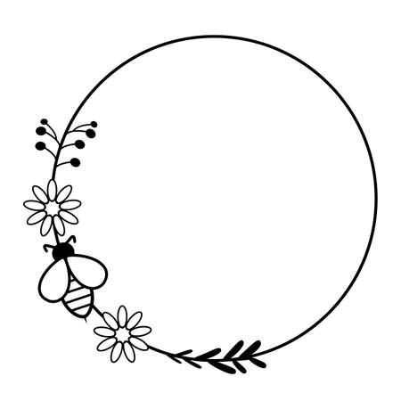 honey circle wreath frame with honey bee. honey bee frame. bumble bee monogram frame.