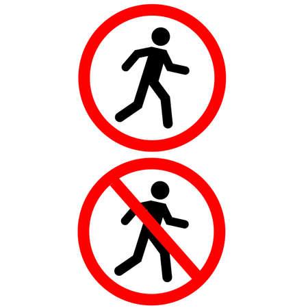 prohibition no pedestrian sign. No access for pedestrians prohibition symbol. no walk icon access for pedestrians prohibition. flat style.