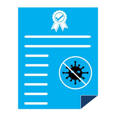 no coronavirus certificate icon on white background. flat style. no virus certificate sign. Ilustração