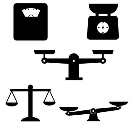 scale and weight icons set. scales of justice icon white background. weighing machine symbol. law scale sign. compare logo symbol.
