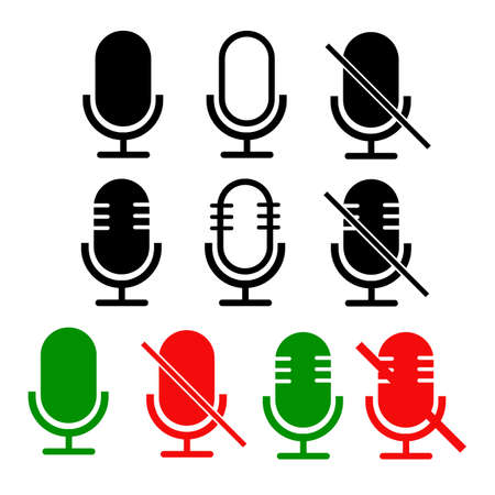 mute and unmute audio microphone set. microphone in mute and unmute sign. flat style. disable and unable speaker symbol for recording audio. volume setting equipment symbol.