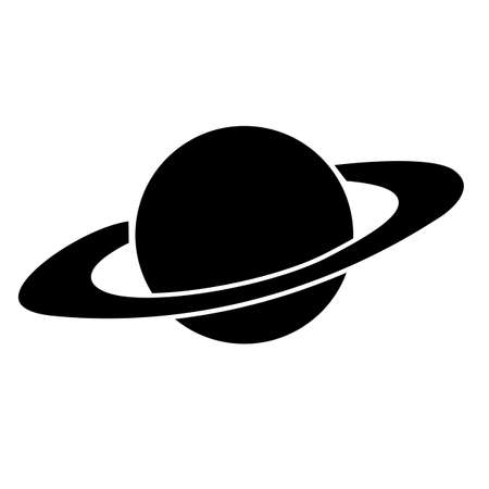 saturn icon on white background. flat style. galaxy space sign. planet symbol. planet saturn with planetary ring system.