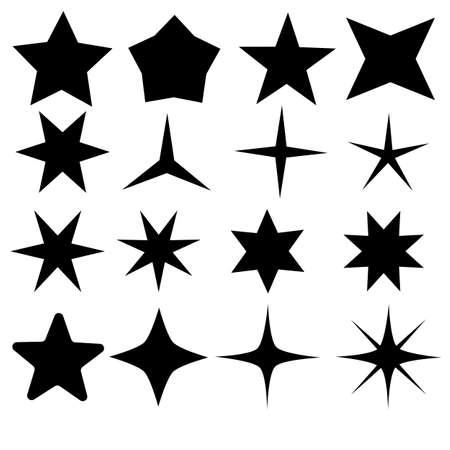 star icons on white background. sparkles sign. flat style. shining burst symbol.
