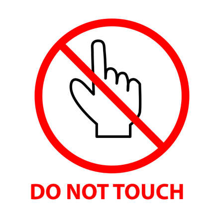 do not touch icon on white background. flat style. red prohibition symbol. no entry prohibition sign.