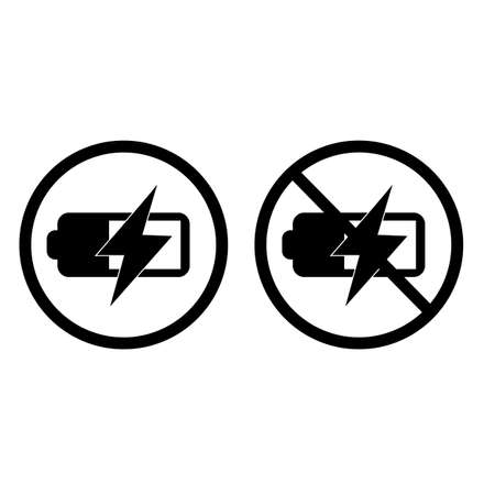 battery charge and no battery charge on white background. battery charge level sign. no flash symbol. battery sign. flat style. 向量圖像