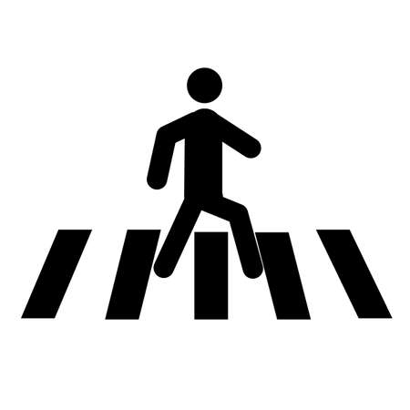 people crosswalk icon on white background. flat style. Pedestrian crossing sign. zebra crossing symbol.