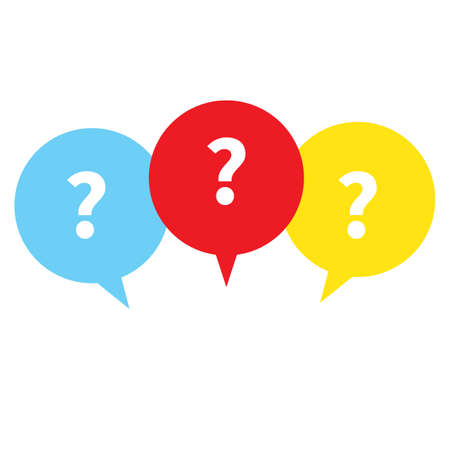 FAQ sign in white background. question mark with color speech bubbles sign. message box with question mark symbol. flat style. 向量圖像
