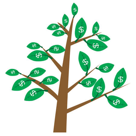 money tree on white background. money tree with leaves in dollars. money tree sign. flat style. dollar tree symbol. 向量圖像