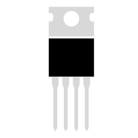 field effect transistor icon on white background. power transistor sign. transistor symbol. flat style.