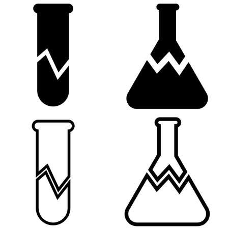 broken laboratory beaker sign. test tube icon on white background. flat style. 向量圖像