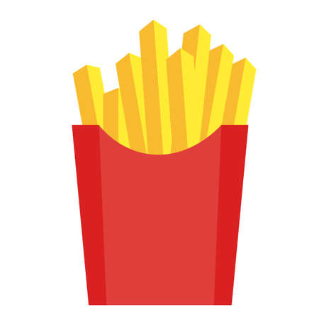fries vector on white background. french potato pack box. french fries sign. flat style.