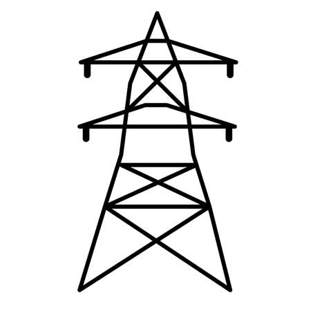electrical tower icon on white background. flat style. electricity sign. high voltage electric transmission tower. electric power logo.